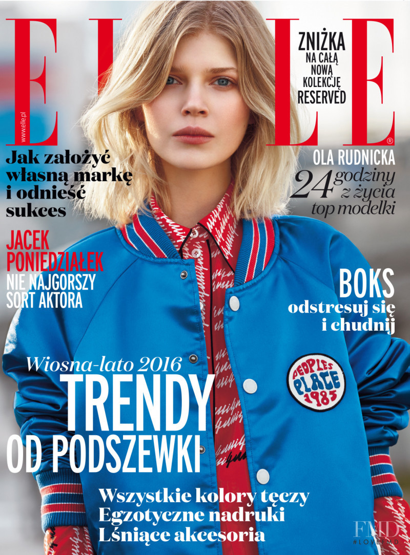 Ola Rudnicka featured on the Elle Poland cover from March 2016