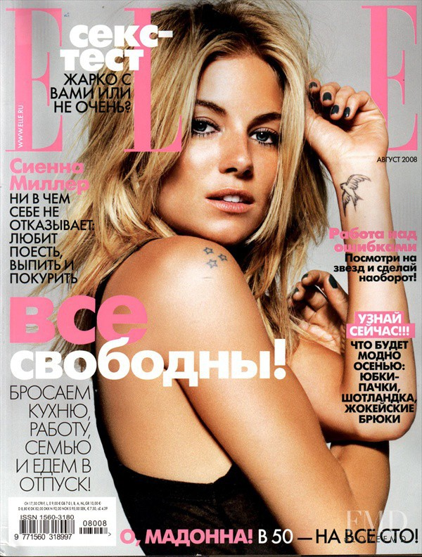 Sienna Miller featured on the Elle Russia cover from August 2008