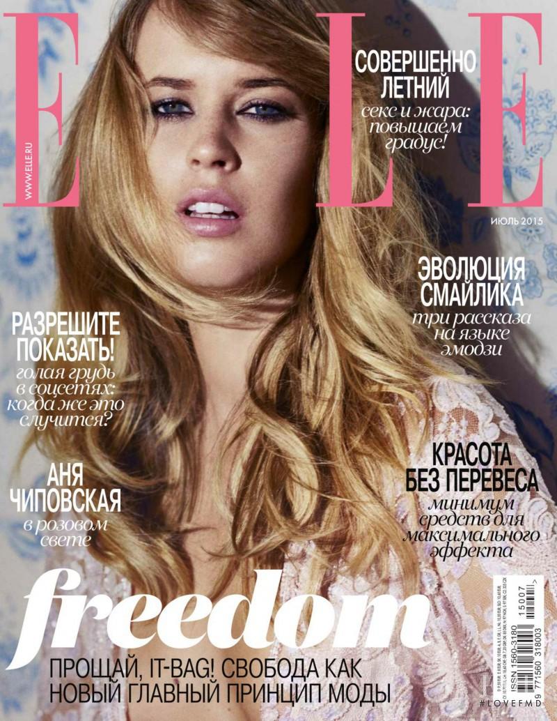 Franziska von Tschurtschenthaler featured on the Elle Russia cover from July 2015