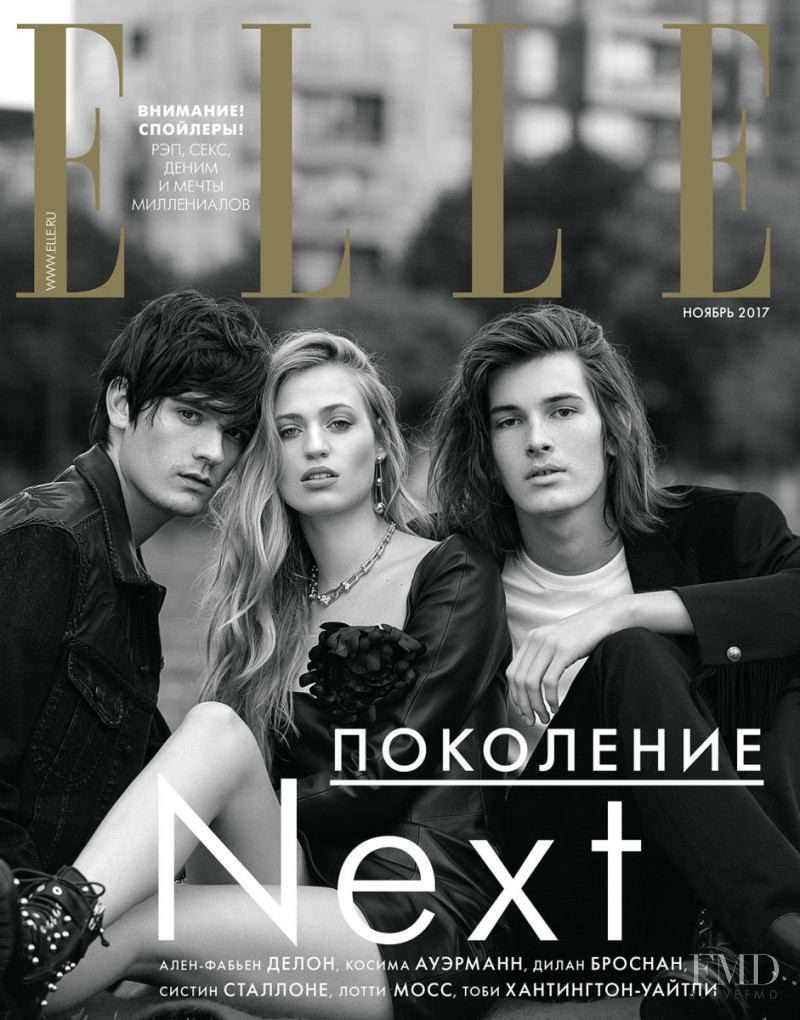 Alain-Fabien Delon, Cosima Auermann and Dylan Brosnan featured on the Elle Russia cover from November 2017
