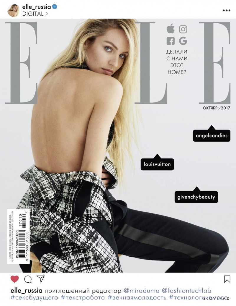 Candice Swanepoel featured on the Elle Russia cover from October 2017