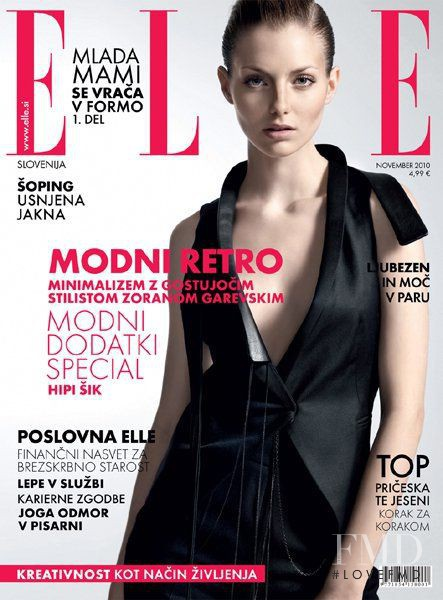 Michaela Kohutova featured on the Elle Slovenia cover from November 2010