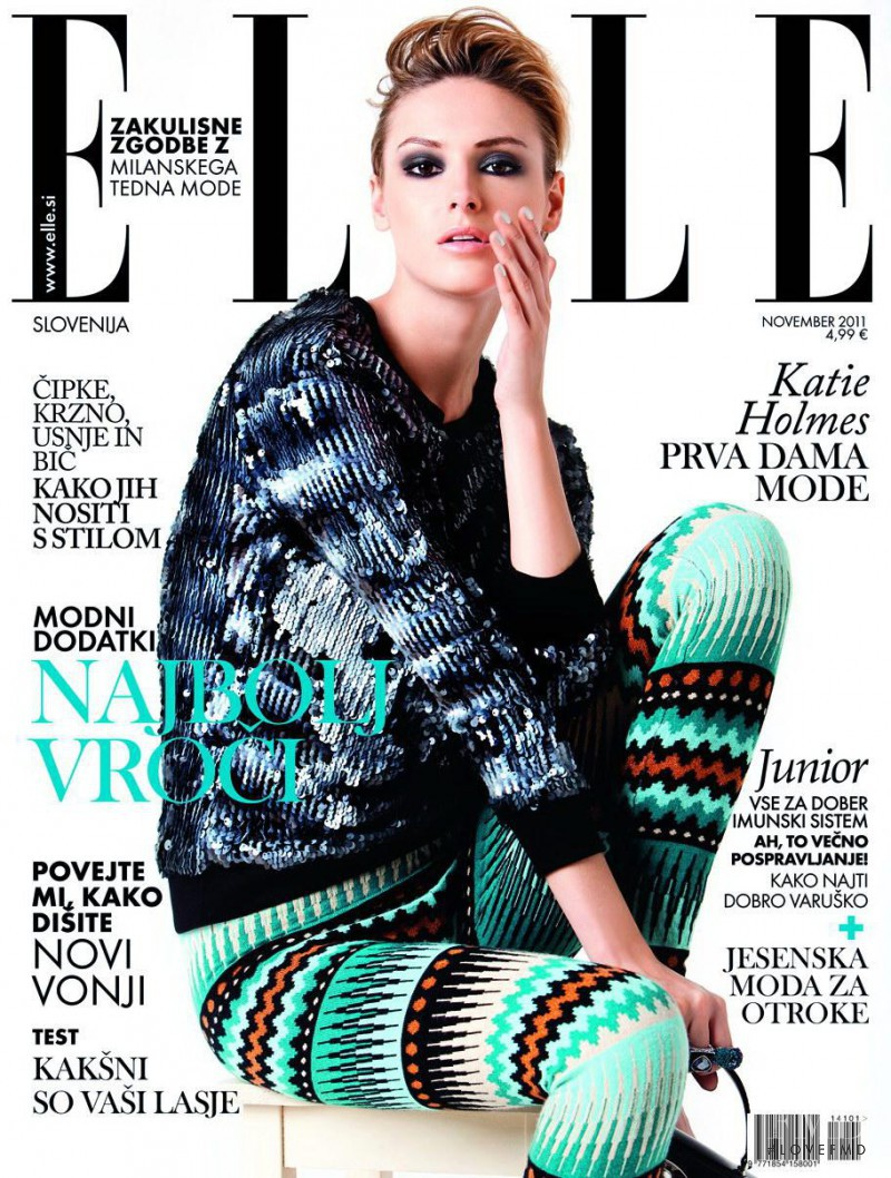 Anastasia Gorodilova featured on the Elle Slovenia cover from November 2011