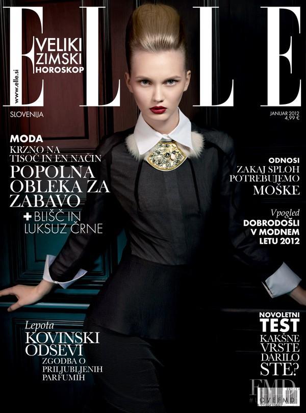 Ksenia Malanova featured on the Elle Slovenia cover from January 2012