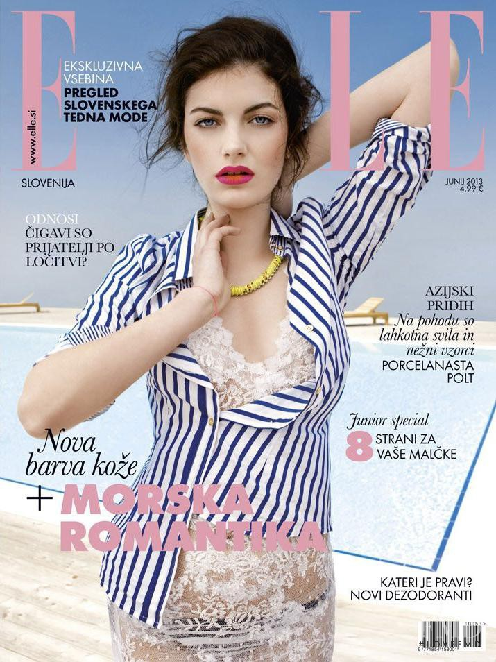 Lara Oset featured on the Elle Slovenia cover from June 2013