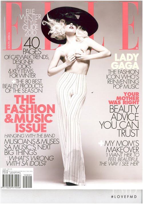 Lady Gaga featured on the Elle South Africa cover from May 2010
