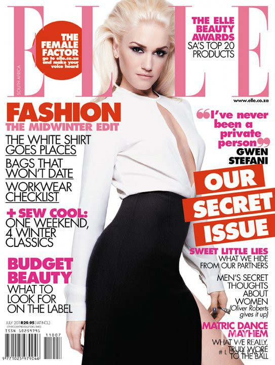 Gwen Stefani featured on the Elle South Africa cover from July 2011