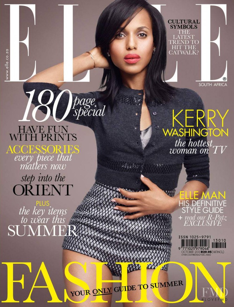 Kerry Washington featured on the Elle South Africa cover from October 2013