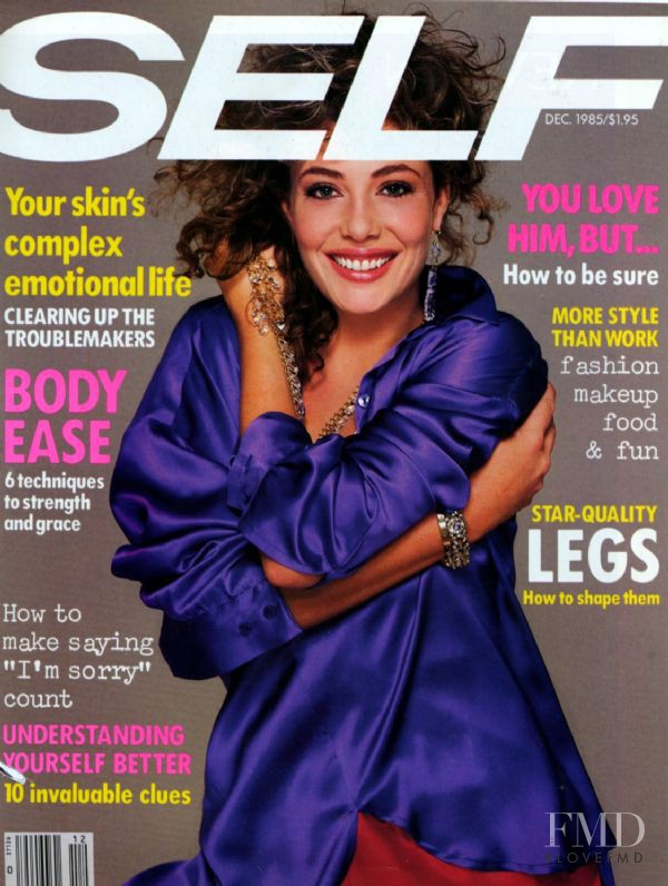 Kelly LeBrock featured on the SELF cover from December 1985