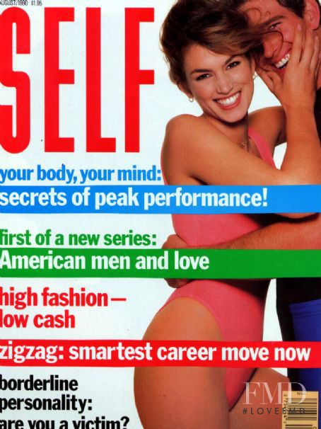 Cindy Crawford featured on the SELF cover from August 1990