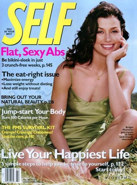 Bridget Moynahan featured on the SELF cover from July 2004