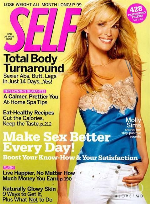 Molly Sims featured on the SELF cover from April 2005