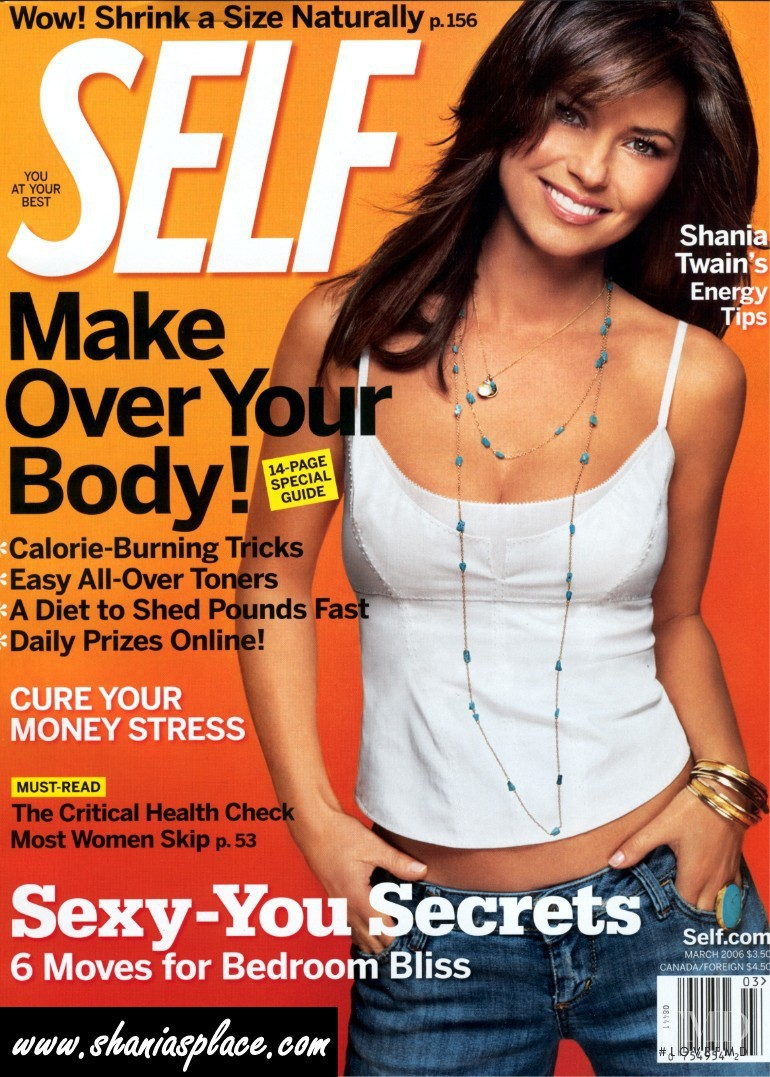 Shania Twain featured on the SELF cover from March 2006
