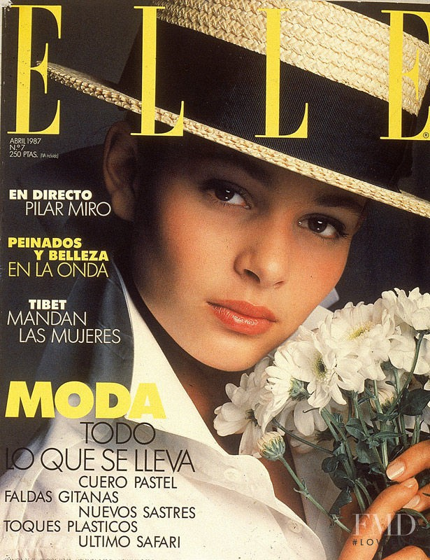 Maria Luisa Mosquera featured on the Elle Spain cover from April 1987
