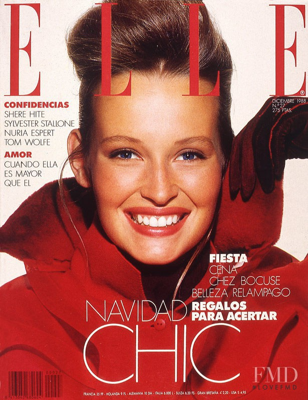Estelle Hallyday (Lefebure) featured on the Elle Spain cover from December 1988