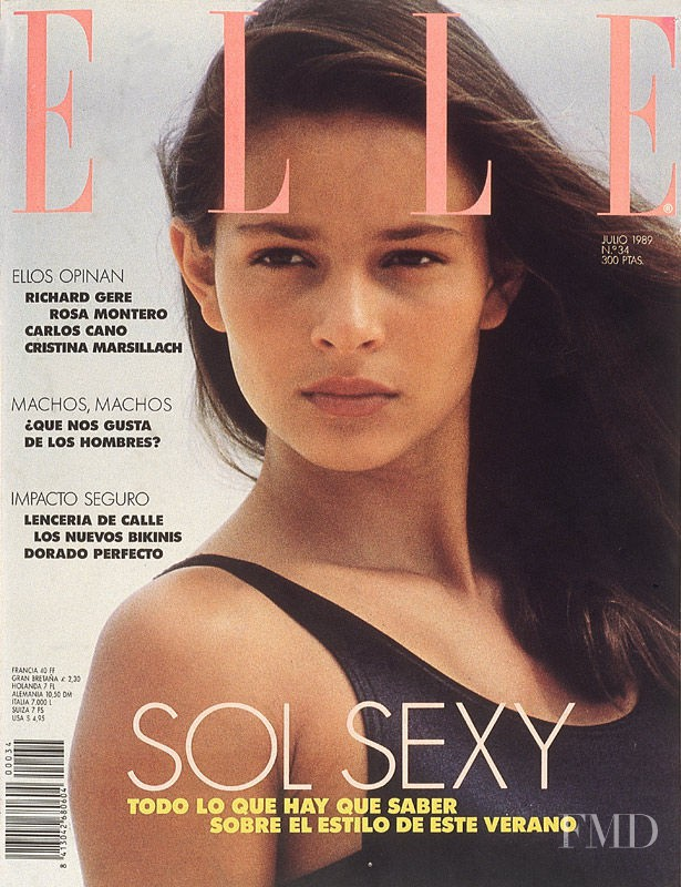 Maria Luisa Mosquera featured on the Elle Spain cover from July 1989