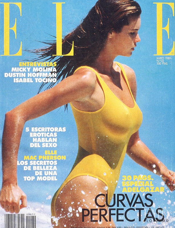 Elle Macpherson featured on the Elle Spain cover from May 1989