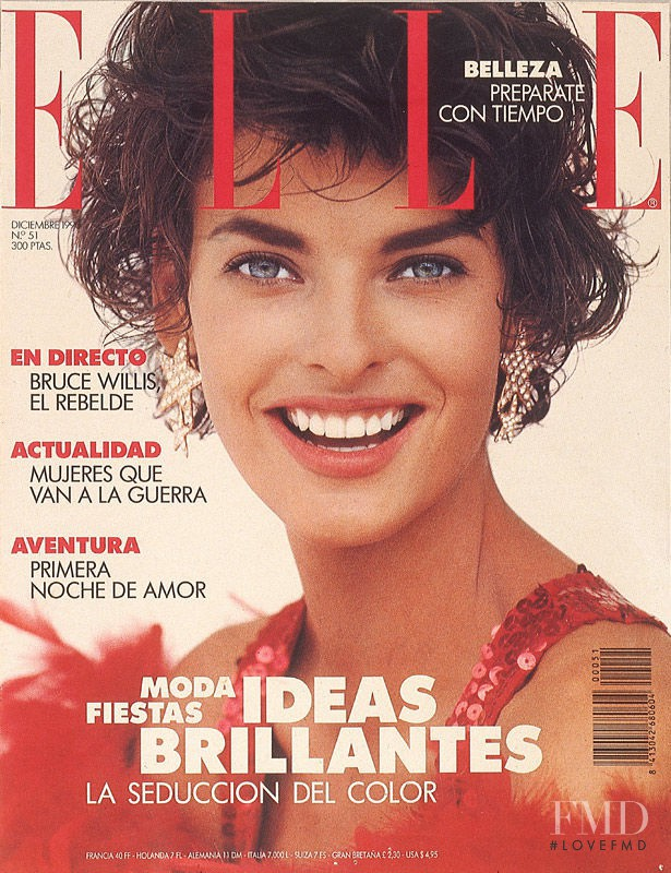 Linda Evangelista featured on the Elle Spain cover from December 1990