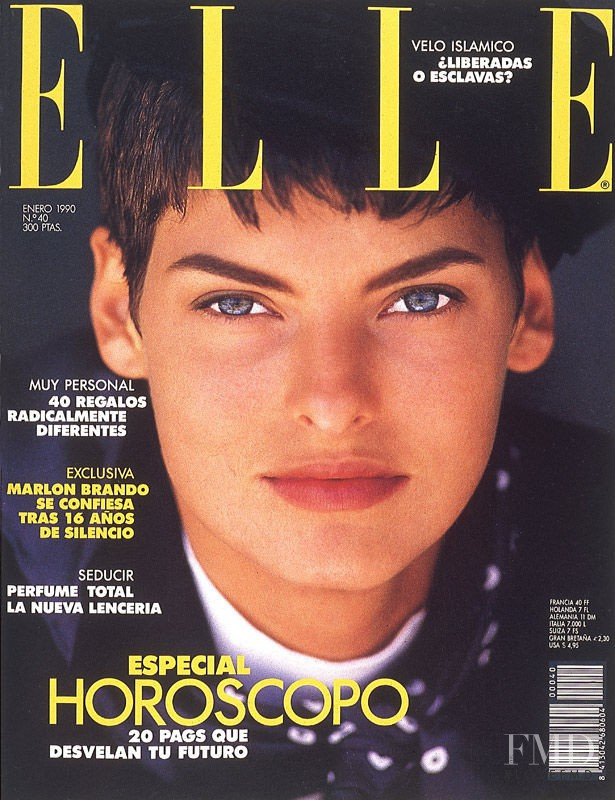 Linda Evangelista featured on the Elle Spain cover from January 1990