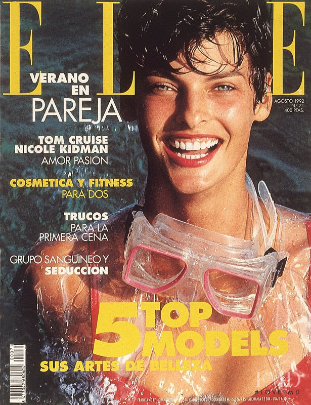 Linda Evangelista featured on the Elle Spain cover from August 1992
