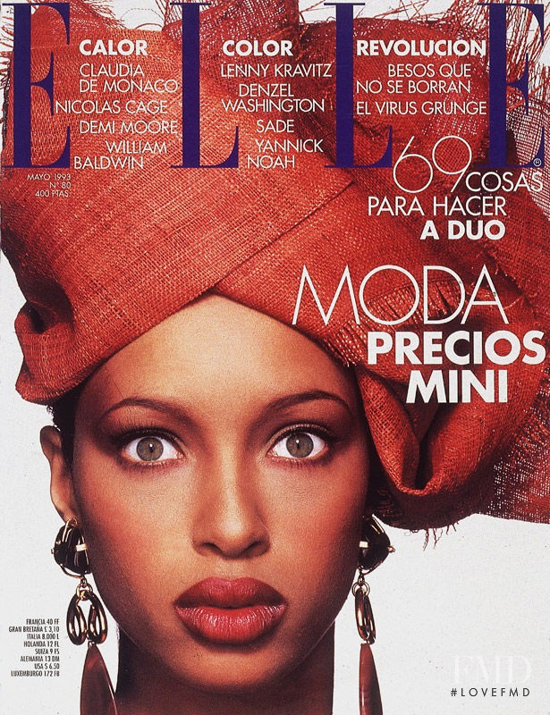 Brandi Quiñones featured on the Elle Spain cover from May 1993