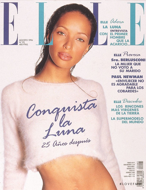Brandi Quiñones featured on the Elle Spain cover from August 1994