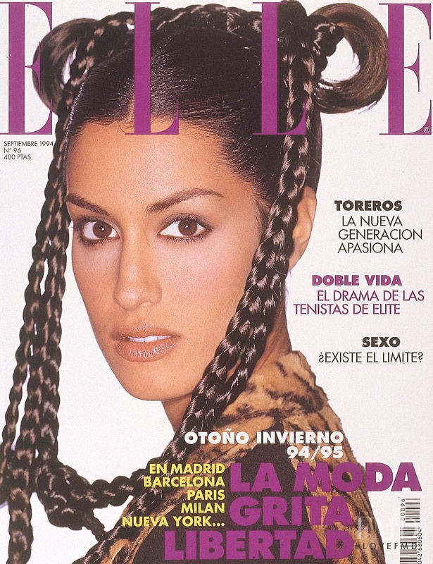 Yasmeen Ghauri featured on the Elle Spain cover from September 1994