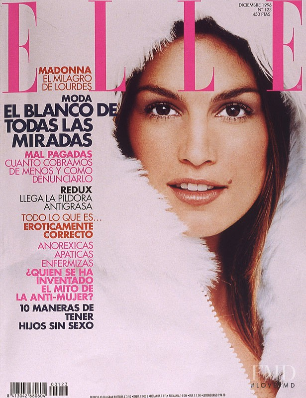 Cindy Crawford featured on the Elle Spain cover from December 1996