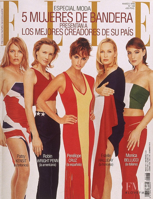 Patsy Kensit, Robin Wright Penn, Penélope Cruz featured on the Elle Spain cover from March 1998