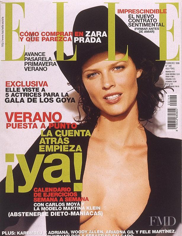 Eva Herzigova featured on the Elle Spain cover from February 1999