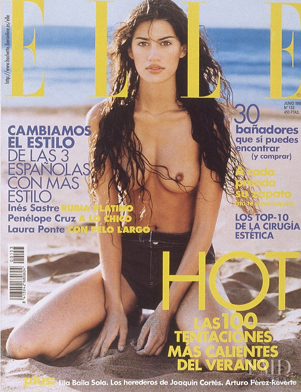Yamila Diaz Rahi featured on the Elle Spain cover from June 1999
