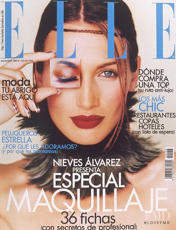 Nieves Alvarez featured on the Elle Spain cover from November 1999