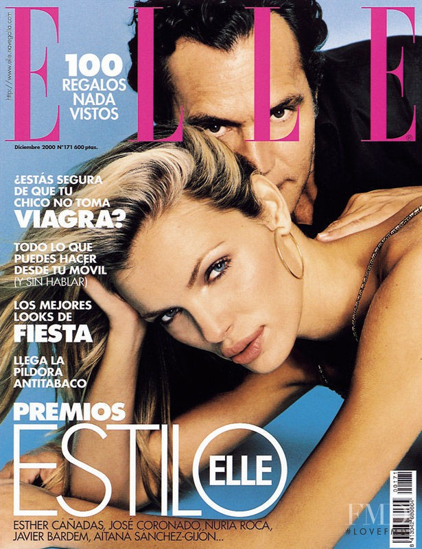 José Coronado featured on the Elle Spain cover from December 2000