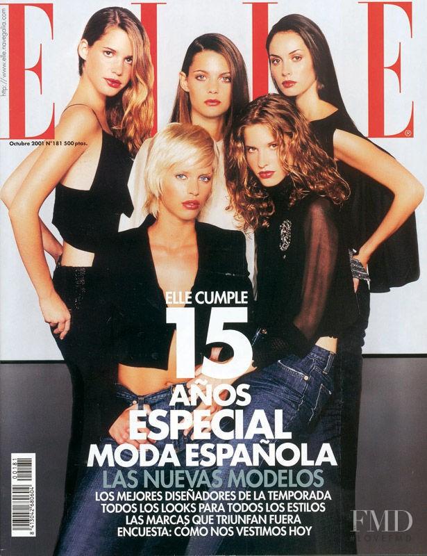 Priscila de Gustin, Minerva Portillo, Marina Pérez, Clara Mas, Elisabeth Mas featured on the Elle Spain cover from October 2001