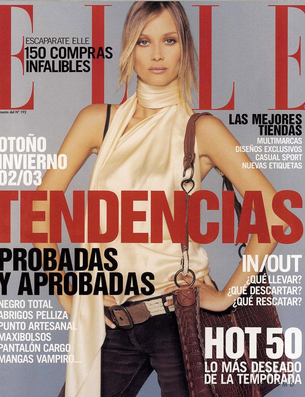 Vanessa Lorenzo featured on the Elle Spain cover from September 2002