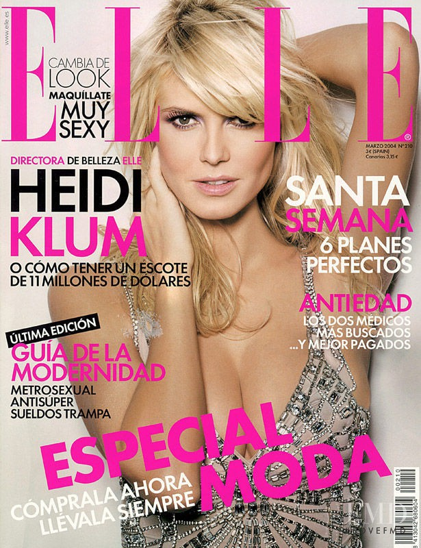 Heidi Klum featured on the Elle Spain cover from March 2004