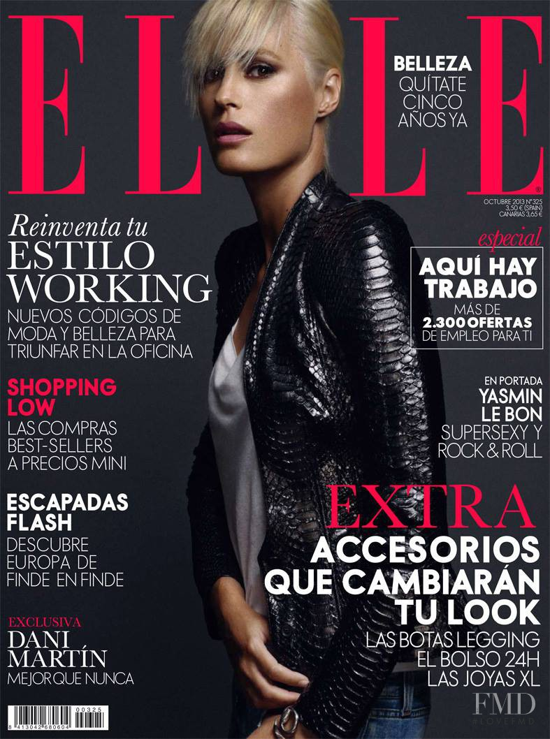 Yasmin Le Bon featured on the Elle Spain cover from October 2013