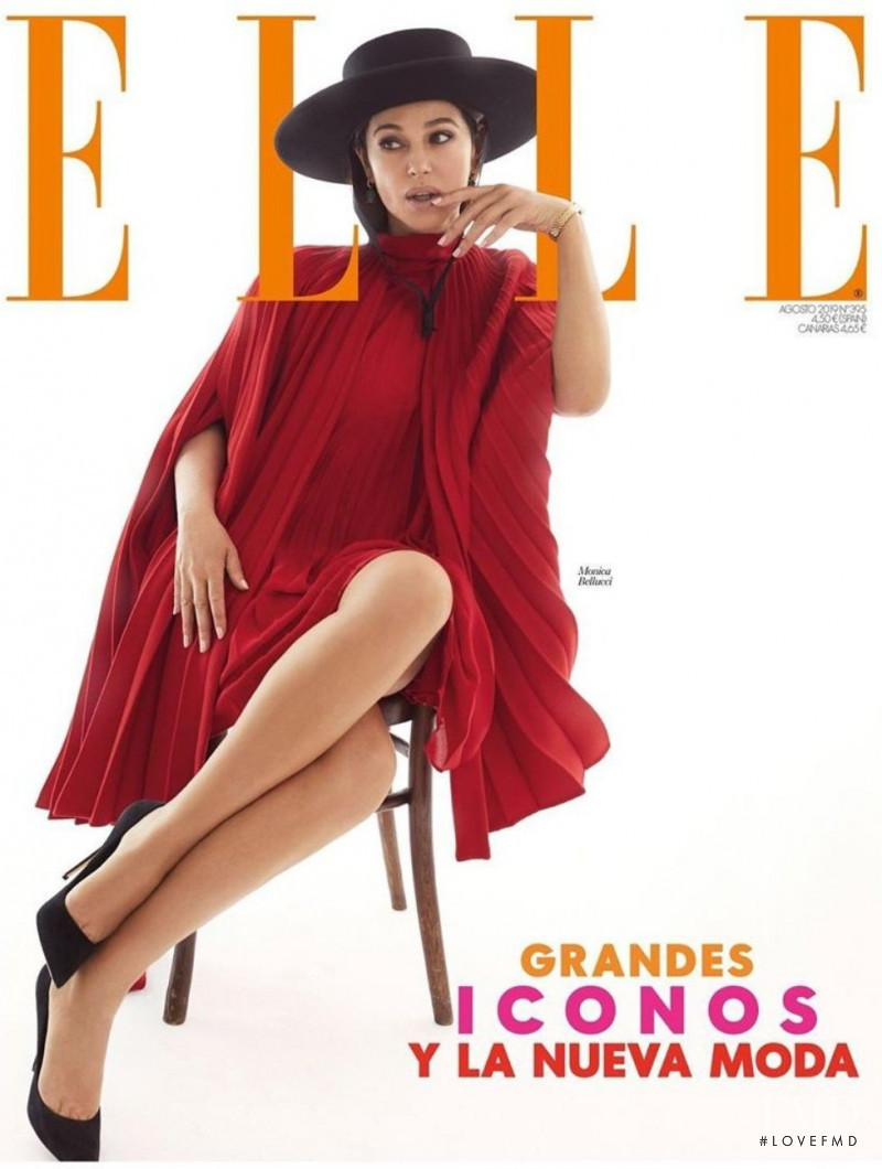 Monica Bellucci featured on the Elle Spain cover from August 2019