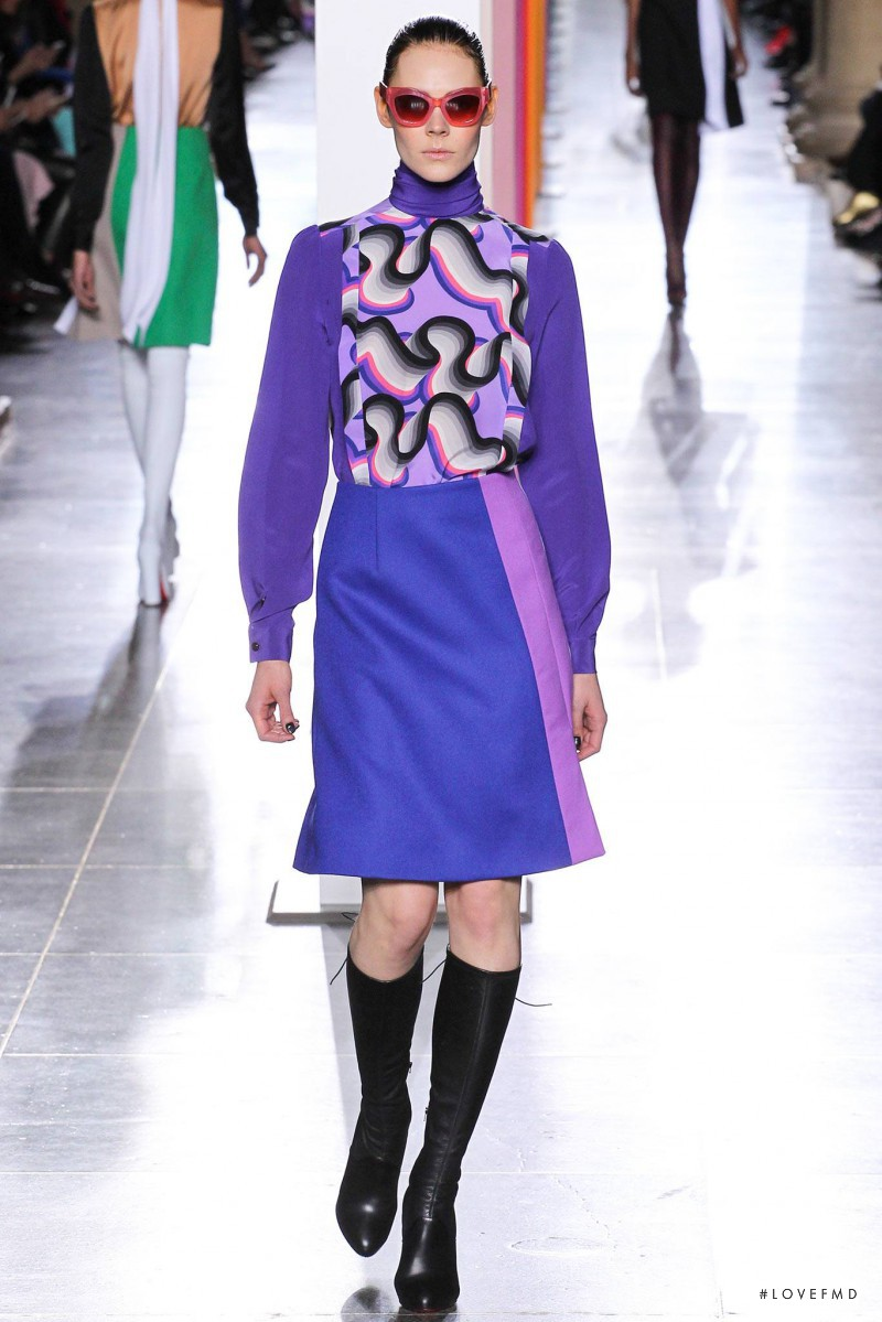 Kinga Rajzak featured in  the Jonathan Saunders fashion show for Autumn/Winter 2015