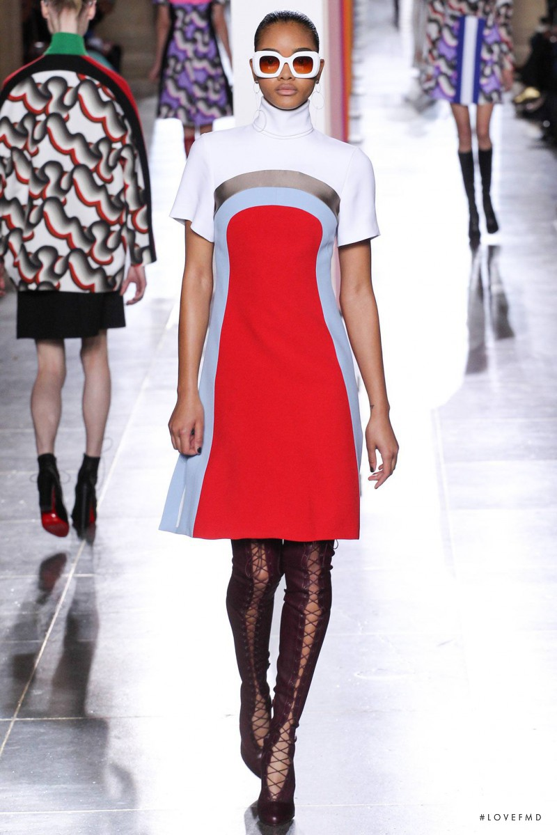 Iesha Hodges featured in  the Jonathan Saunders fashion show for Autumn/Winter 2015