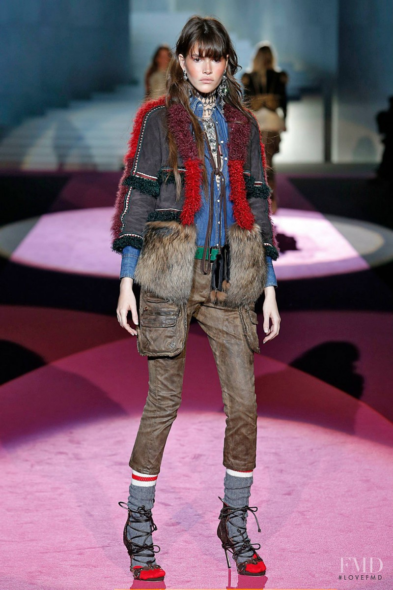 Vanessa Moody featured in  the DSquared2 fashion show for Autumn/Winter 2015