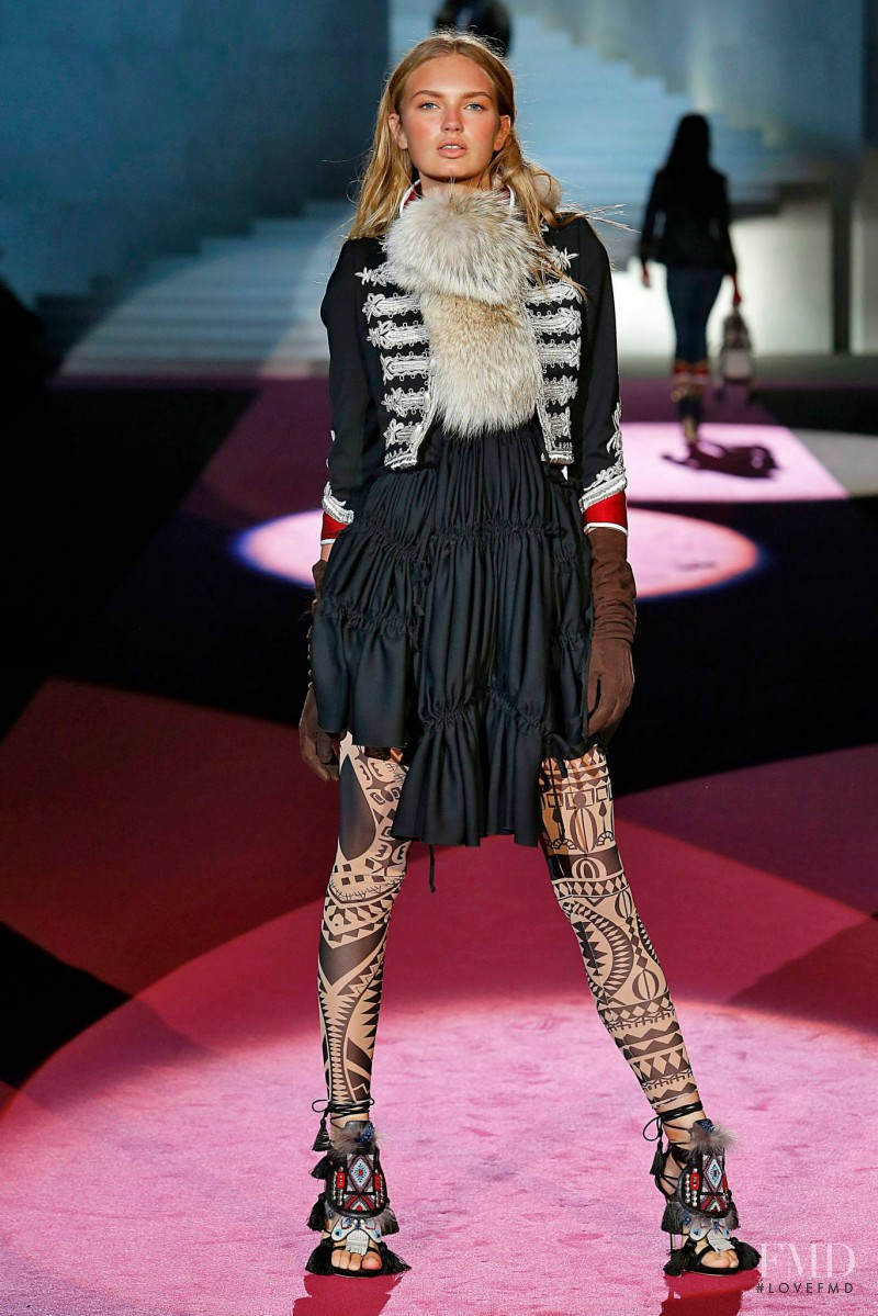 Romee Strijd featured in  the DSquared2 fashion show for Autumn/Winter 2015