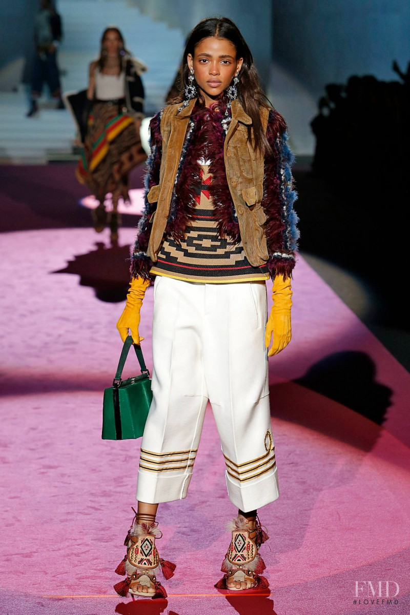 Aya Jones featured in  the DSquared2 fashion show for Autumn/Winter 2015