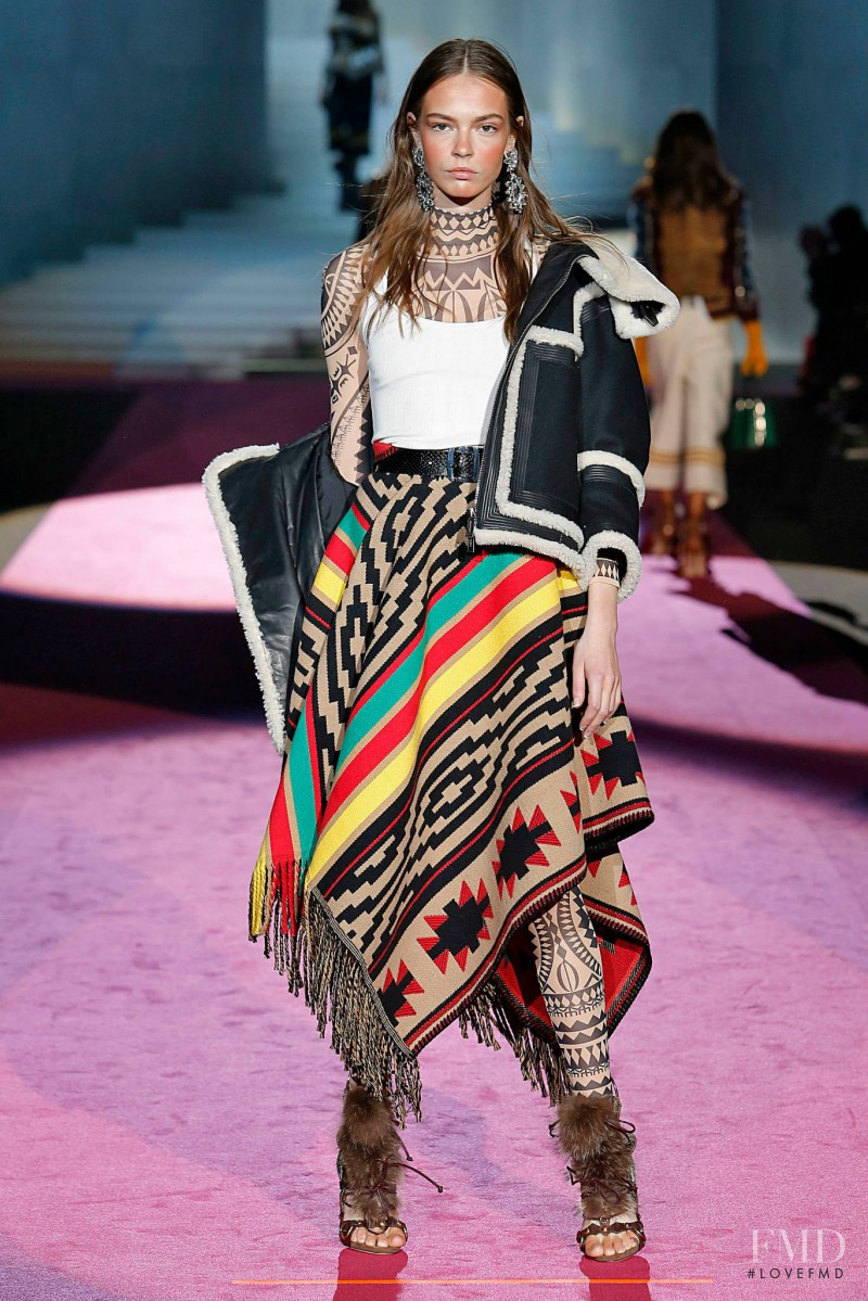 Mina Cvetkovic featured in  the DSquared2 fashion show for Autumn/Winter 2015