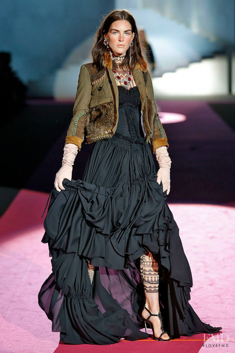 Hilary Rhoda featured in  the DSquared2 fashion show for Autumn/Winter 2015
