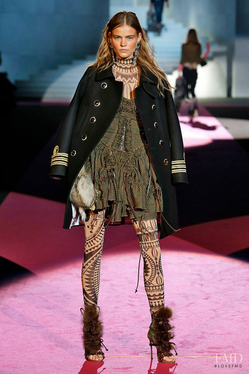 Kate Grigorieva featured in  the DSquared2 fashion show for Autumn/Winter 2015