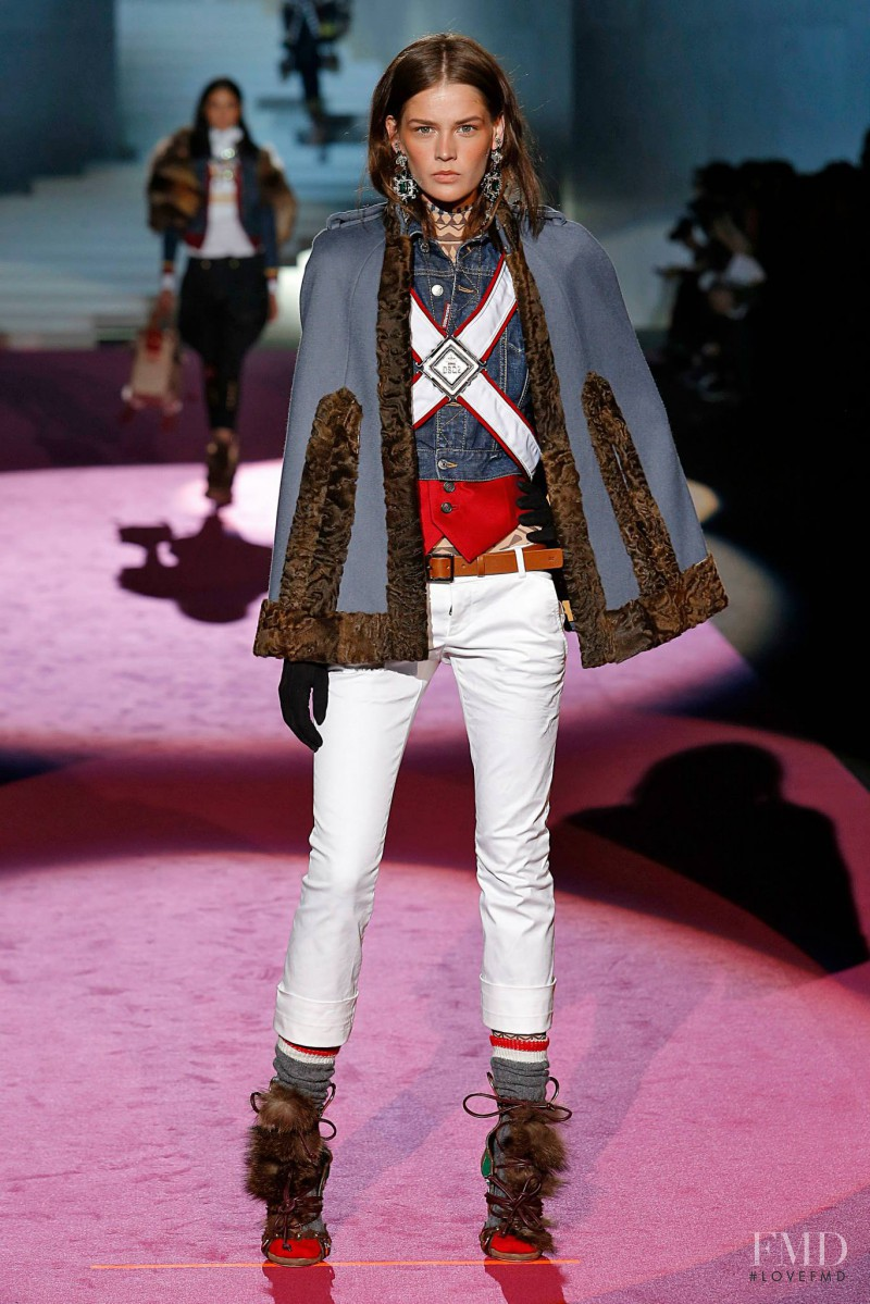 Angel Rutledge featured in  the DSquared2 fashion show for Autumn/Winter 2015