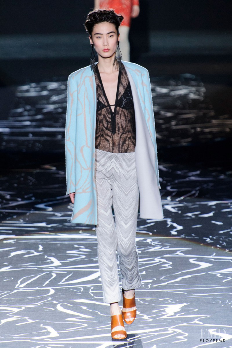 Dongqi Xue featured in  the Missoni fashion show for Autumn/Winter 2015