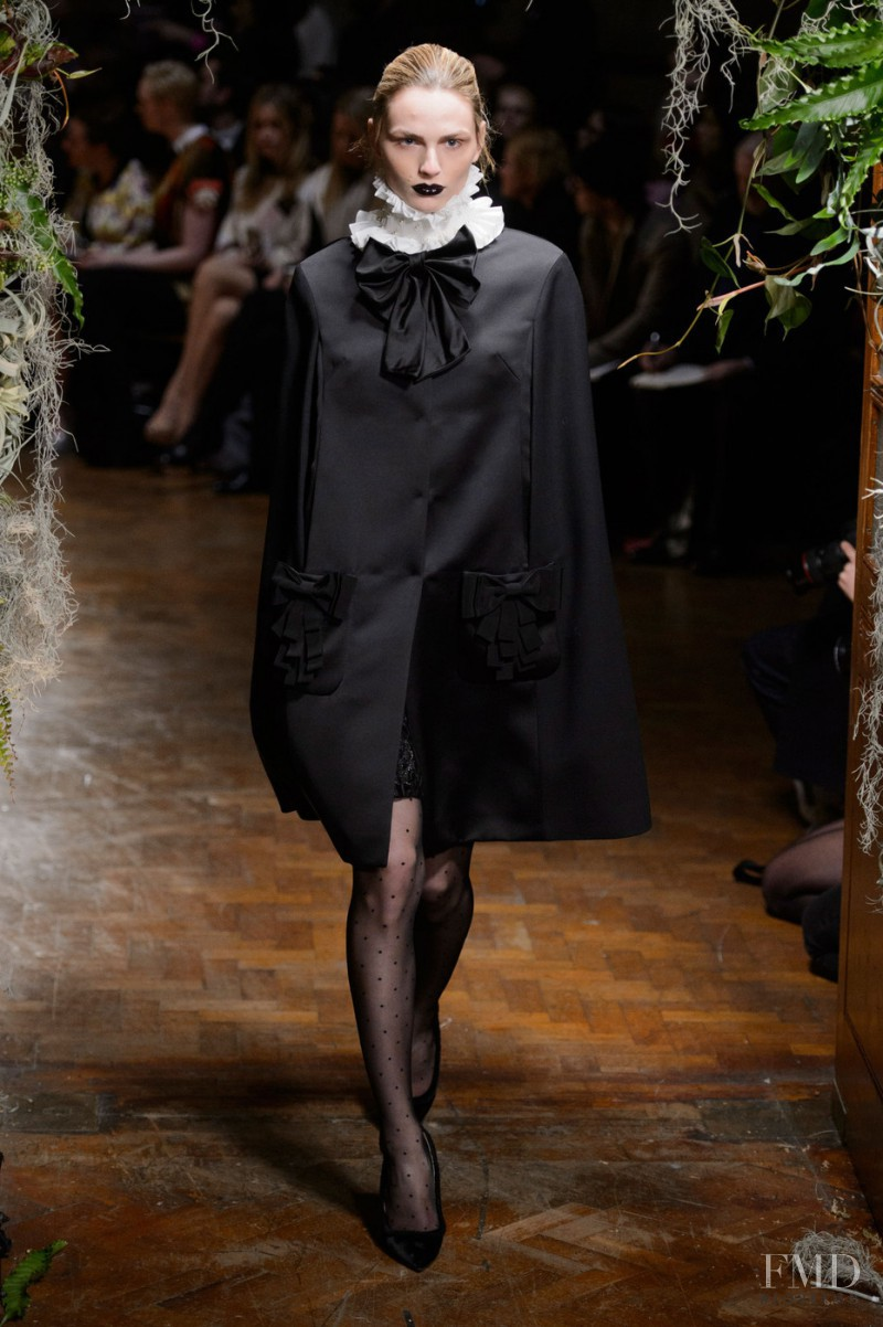 Andrej Pejic featured in  the Giles fashion show for Autumn/Winter 2015