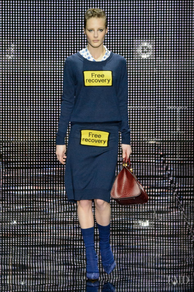 Olympia Campbell featured in  the Anya Hindmarch fashion show for Autumn/Winter 2015